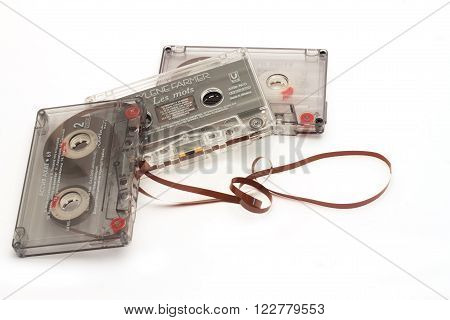 DIKANKA UKRAINE - NOVEMBER 26 2015: Film tape cassettes used for recording and playback of music. Cassette with an inscription on the manufacturer the name of the artist and a list of songs.