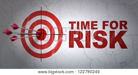 Timeline concept: target and Time For Risk on wall background