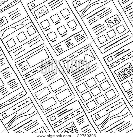 Hand drawn website layouts. doodle style design