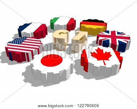 G7 association of seven national economies members flags on cog wheels. Blueprint backdrop. Group of Seven a governmental political forum