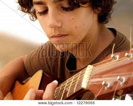 Closeup of a Young Musician