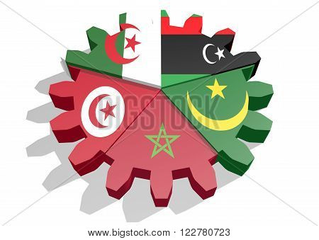 Arab Maghreb Union - AMU association of five national economies members flags on gear. A trade agreement unity among Arab countries of the Maghreb in North Africa.
