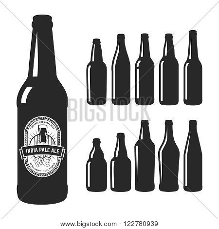 Vector craft beer silhouettes. Set of 10 various craft beer bottles. Different shapes and sizes. India pale ale label