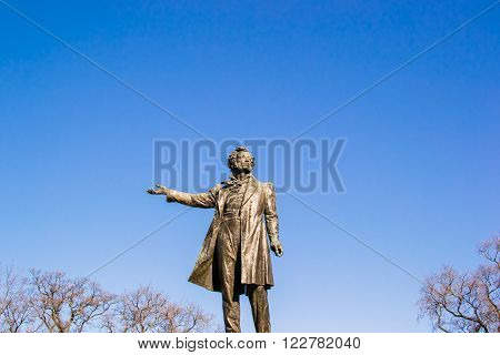 Pushkin Monument By Day