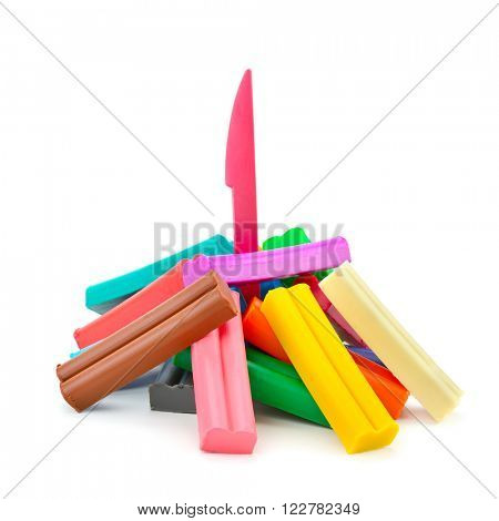 Colorful modelling clay isolated on white background