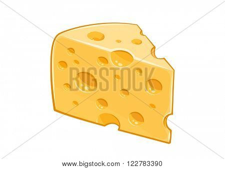 Piece of cheese. Vector illustration. Isolated white background. Transparent objects used for lights and shadows drawing