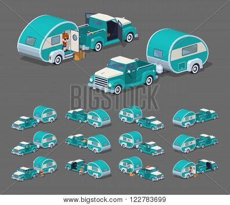 Turquoise retro pickup with trailer house. 3D lowpoly isometric vector illustration. The set of objects isolated against the grey background and shown from different sides poster