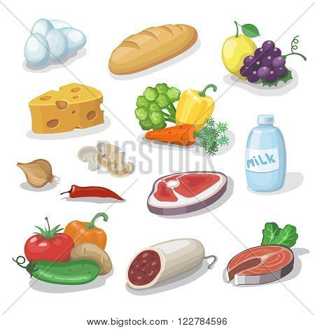 Common everyday food products. Cartoon icons set  provision, cheese and fish, sausage, vegetables, milk, bread vector illustration