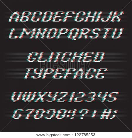 Glitch alphabet. Glitch letters and glitch numbers. Glitched typeface with glitch noise shadow. Glitch font set on black background. Vector glitch.