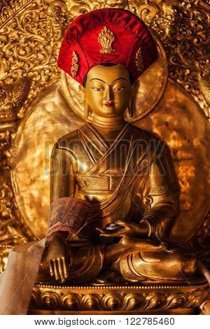 Buddha Sakyamuni statue in Lamayuru Gompa (Tibetan Buddhist monastery). Ladakh, India