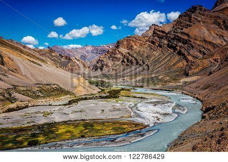 Himalayan landscape in Hiamalayas along Manali-Leh highway. Himachal Pradesh, India