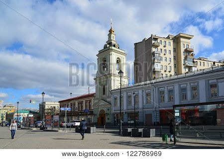 Moscow, Russia - March 14, 2016. Belfry of Temple of the Beheading of John the Baptist on Caesar Kunikov Square