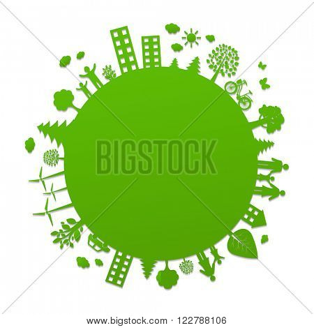Eco Planet With Gradient Mesh, Vector Illustration