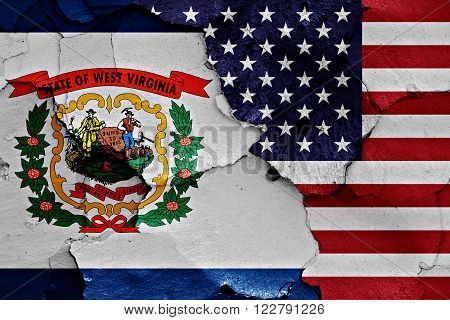 Flags Of West Virginia And Usa Painted On Cracked Wall