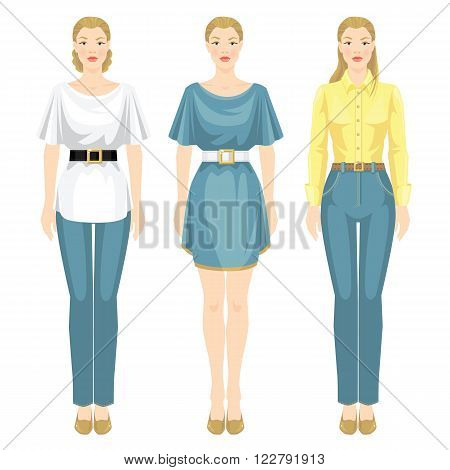 Vector illustration of girls in different clothes and various style of haircut. Girl in jeans, white blouse and black belt. Woman in light blue dress with white belt. Girl in yellow shirt and jeans.