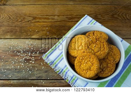 Homemade sesame cookies on wooden background. Breakfast cookie. . Cookies. Cookie. Dessert. Breakfast. Sweet cookie.