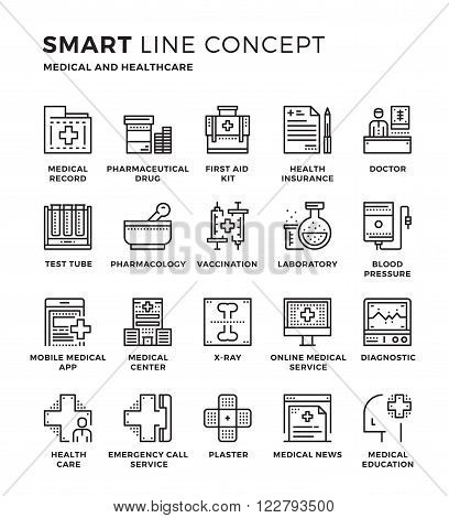 Set of modern thin line icon collection concept of Medical , Healthcare. Pixel perfect icon design for Web Graphic , Mobile app ,Vector Design illustration.