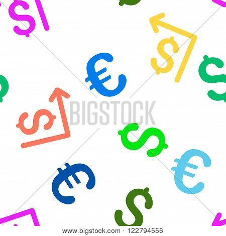 Moneyback vector repeatable pattern with dollar and euro currency symbols. Style is flat colored icons on a white background.