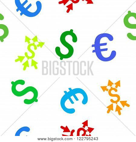 Payment Broker vector repeatable pattern with dollar and euro currency symbols. Style is flat colored icons on a white background.