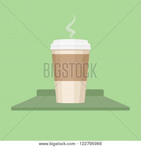 Disposable coffee cup vector illustration, icon. Coffee cup isolated on background. Paper coffee cup. Coffee cup flat style. Coffee cup beans.