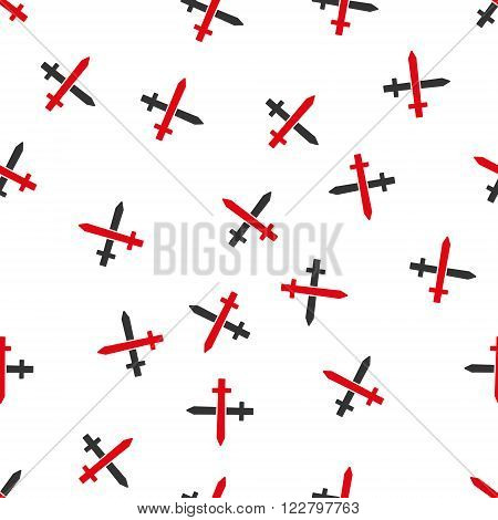 Crossing Swords vector seamless repeatable pattern. Style is flat red and dark gray crossing swords symbols on a white background.