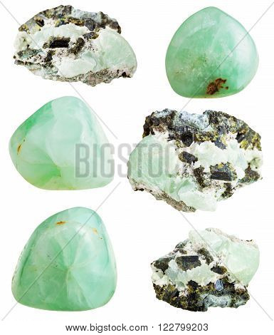 Set Of Prehnite Stone And Polished Gemstones