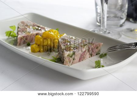 Ham hock & trotter terrine with piccalilli