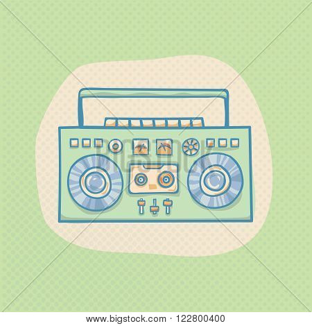 Boombox with cassette. Portable cassette player, hand drawn vector retro boombox illustration with halftone. Suitable for banner, ad, t-shirt design. Vintage boom box vector design element