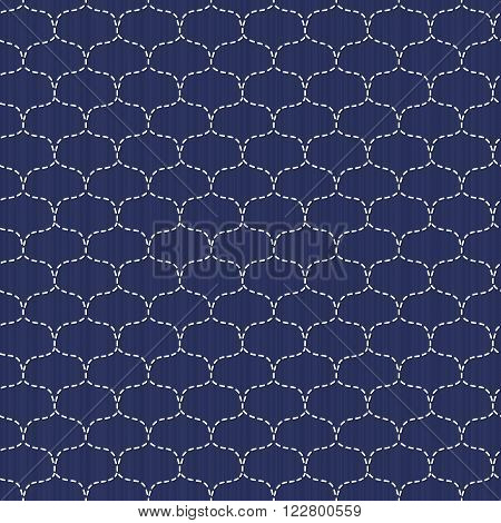 Japanese sashiko motif. Waves. Seamless pattern. Abstract backdrop. Needlework texture. Traditional Japanese Embroidery Ornament. Fishing net. Vintage sasiko. For decoration or printing on fabric.