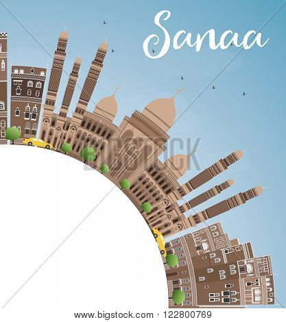 Sanaa (Yemen) Skyline with Brown Buildings and Copy Space. Vector Illustration. Business Travel and Tourism Concept with Historic Buildings. Image for Presentation Banner, Placard and Web Site.