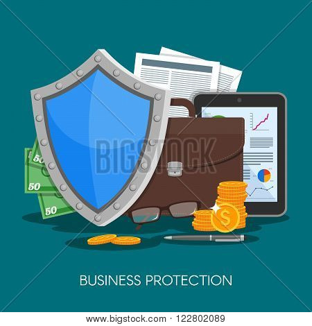 Business protection concept vector illustration. Shield protect data and business from risks. Poster in flat style design.