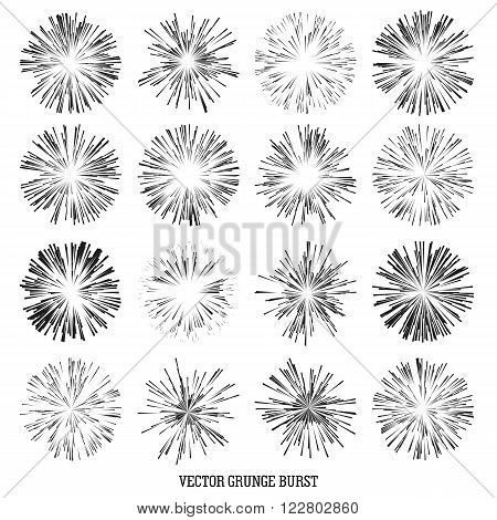 Set Comic Radial Speed Lines. Graphic Explosion with Speed Lines. Comic Book Design Element. Vector Illustration. Explosion vector illustration Square fight stamp Sun ray Star burst Spray paint Grunge dirty ink texture