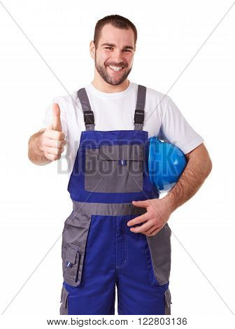 Portrait Of A Manual Worker Makes A Gesture Thumb Up
