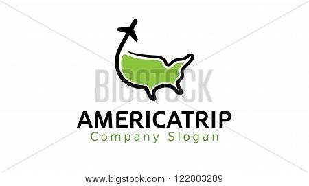 Trip America Map Creative Logo  Design Illustration