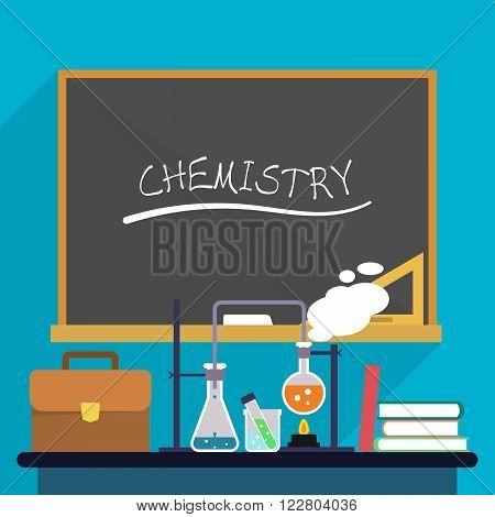 Workplace chemistry teacher with test tubes and flasks, a briefcase and books on the background of school board
