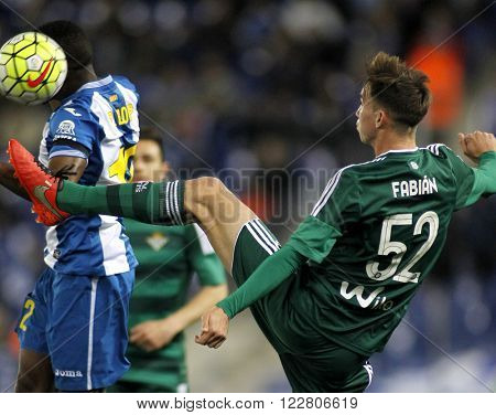 BARCELONA - MARCH, 3: Fabian Ruiz  of Real Betis during a Spanish League match against RCD Espanyol at the Power8 stadium on March 3, 2016 in Barcelona, Spain
