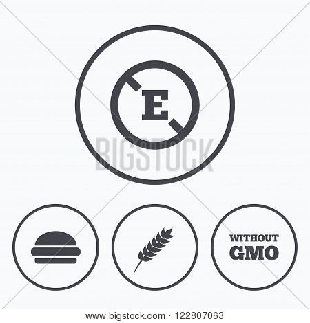 Food additive icon. Hamburger fast food sign. Gluten free and No GMO symbols. Without E acid stabilizers. Icons in circles.