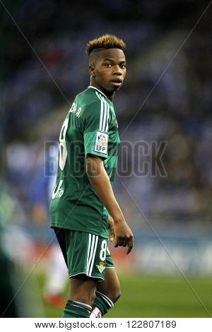 BARCELONA - MARCH, 3: Charly Musonda Junior of Real Betis during a Spanish League match against RCD Espanyol at the Power8 stadium on March 3, 2016 in Barcelona, Spain