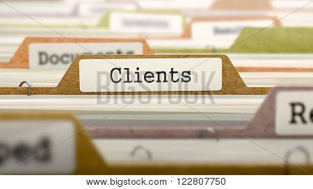 Clients Concept on Folder Register in Multicolor Card Index. Closeup View. Selective Focus. 3D Render.