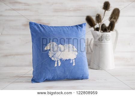Blue Square Throw Pillow With White Sheep Imprint