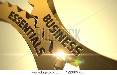 Golden Metallic Gears with Business Essentials Concept. Business Essentials - Concept. Business Essentials on Mechanism of Golden Cogwheels with Lens Flare. 3D.