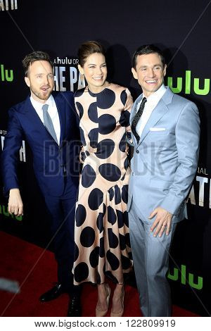 LOS ANGELES - MAR 21: Aaron Paul, Michelle Monaghan, Hugh Dancy at the Premiere of 'The Path' at Arclight Hollywood on March 21, 2016 in Los Angeles, California
