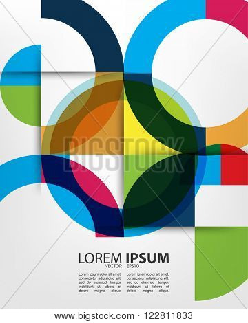 eps10 vector overlapping multicolored geometric shape circle abstract design