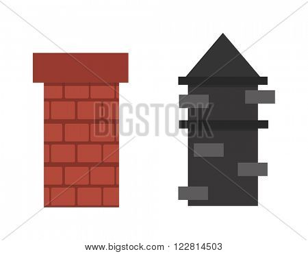 Chimney air cleaning system flue exhaust air and residential structure outdoors chimney. Outer part of house, cleaning chimneys roof. Two old red brown brick chimney roof architecture top smoke vector