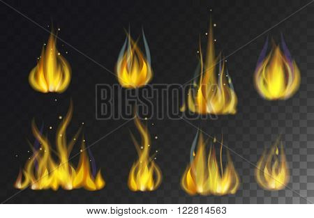 Hot fire flame orange light and energy fire flame set. Power design of fire flame cartoon flat vector. Sparks barbecue fire flame smoke. Fire flames collection isolated on black background vector.