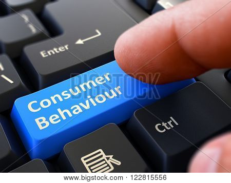 Consumer Behaviour Concept. Person Click on Blue Keyboard Button with Consumer Behaviour. Selective Focus. Closeup View. 3D Render.
