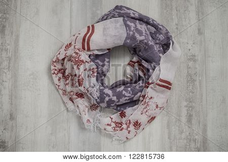 White Scarf With Purple And Red Floral Design