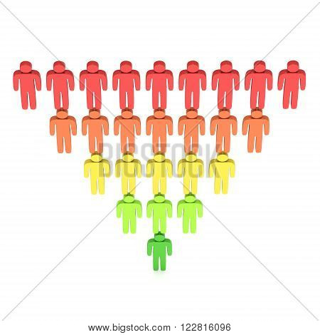 Marketing Funnel Sales Diagram with People. 3d render isolated on white background. Conversion Funnel Sale Chart. Concept of Funnel and Sales.