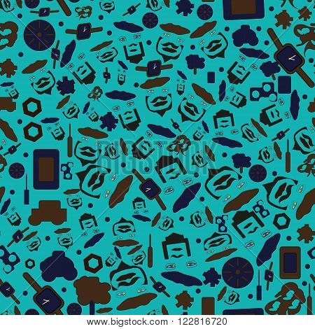 Seamless pattern on the male subject draw vector