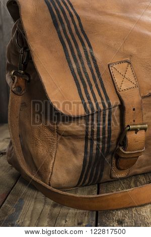 Thin Black Stripes Design On Side Of Leather Satchel